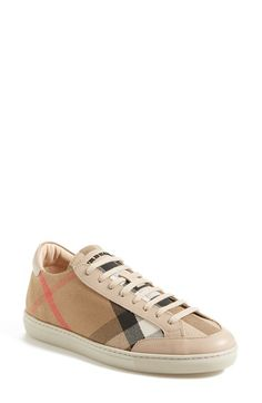 """Free shipping and returns on Burberry 'Hartfields' Sneaker (Women) at Nordstrom.com. <p><B STYLE=""""COLOR:#990000"""">Pre-order this style today! Add to Shopping Bag to view approximate ship date. You'll be charged only when your item ships.</b></p><br>A low-top sneaker shows off Burberry's iconic checks and smooth leather trim. An easy way to stay sophisticated on off-duty days."""