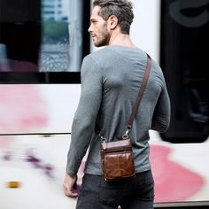 Man Bag in Genuine Leather - Small Messenger Bag with Shoulder Strap/Cross-body - 5 Colors - Men's style, accessories, mens fashion trends 2020 Small Shoulder Bag, Leather Shoulder Bag, Men Shoulder Bag, Shoulder Strap, Mochila Edc, Cowhide Leather, Leather Men, Hiphop, Mens Satchel