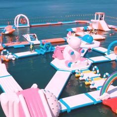 This inflatable waterpark is a unicorn-themed wonderland in the Philipines and must be added to any visitor's travel itinerary. Vacation Places, Dream Vacations, Cruise Vacation, Vacation Trips, Inflatable Water Park, Inflatable Island, Cute Pool Floats, Packing List Beach, Creative Kids Rooms