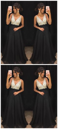 Sexy Sleeveless Evening Dress, A Line V Neck Crystal Prom Dress, Black Long Party Dress P0745 #promdress #promdresses #promgown #blackpromgowns #long #sequinsprom #modestpromdress #newpromdress #2018fashions #newstyles #beadings