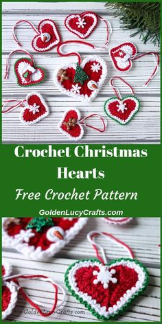 Learn how to crochet these beautiful Christmas heart ornaments! You can use them for your Christmas Tree, you can decorate a gift package, or, embellish your home. Make some as a small present for your child's teachers, your coworkers, and your friends. Free crochet pattern, holiday crochet, DIY ornament, #christmascrochet, #christmasornaments