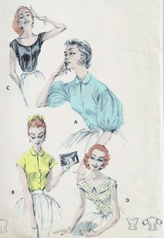 1950s Butterick 7802 Beautiful Blouses Pattern 4 Unique Styles almost Off Shoulders Version,Balloon Puff Sleeves, Peter Pan Collar Scooped Cuffed Neckline Bust 32