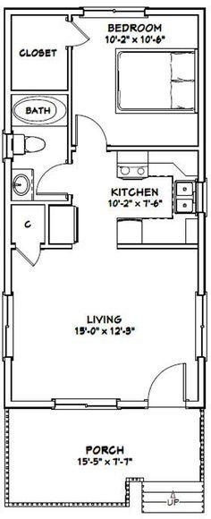 16x32 House 1-Bedroom 1-Bath 511 sq ft PDF Floor Plan | Etsy Small House Floor Plans, Cabin House Plans, Cabin Floor Plans, Bedroom Floor Plans, Tiny Cabin Plans, Studio Floor Plans, Tiny House Layout, Tiny House Design, House Layouts