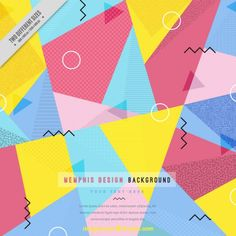 Colored polygonal memphis background Vector | Free Download