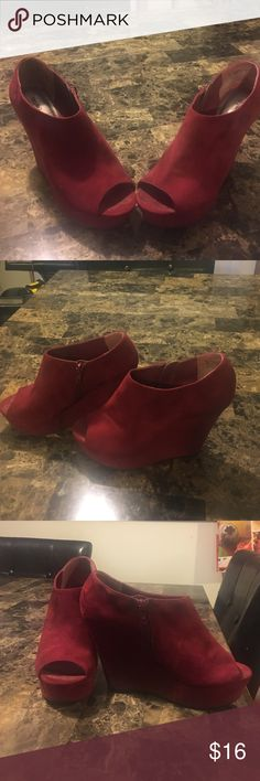Cranberry Chunky Wedges Super comfy wedge heels with a velvet finish. They run true to size. Open to offers, thanks for looking! Mossimo Supply Co Shoes Wedges