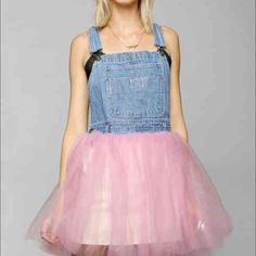 Urban renewal overall tutu dress! 😋 AMAZING urban renewal BWB (best world brand) overall tutu dress with light pink tulle and built in lining! Was worn only once for a birthday. Still is fantastic condition! Overall Tutu, Pink Tulle, Urban Outfitters Dress, Overalls, Denim, Urban Renewal, Fashion Design, Fashion Mag, Skirts