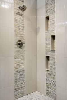 Warm and cool tones that create a soft, earthy look in this bathroom wall tile - Baoding Creme Petite Strips Quartzite mosaic tile https://www.tileshop.com/product/656351-P.do