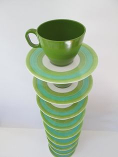 Mod Boontonware Somerset Cups and Saucers  Turquoise by 1006Osage, $20.00