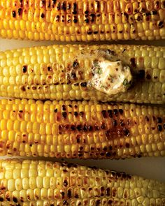 """Perfect Grilled Vegetables, CORN: """"Remove husks and silk; discard. Brush cobs with olive oil. Season with salt. Arrange cobs on grill, parallel with the grates. Grill cobs over medium-high heat, turning occasionally, until slightly charred and kernels are tender, about 15 minutes total. Serve"""""""