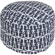 """13"""" Navy Blue and Ivory Anchor Away Round Outdoor Patio Pouf Ottoman"""