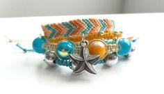 Friendship Bracelet Set Blue and Yellow Beads Starfish Summer Bracelet Beach Cabana Ocean Bohemian Breeze Pookie Design
