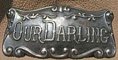 """""""Our Darling"""" Antique Coffin Casket Plaque ~ Victorian Mourning"""