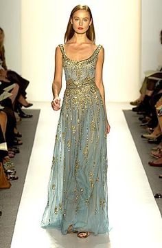Reem Acra blue and gold gown