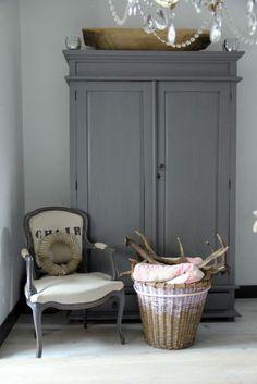 Plan: pale smoke walls, gray furniture, grayish blue quilt, shades of cream, gra. Decor, Furniture, Grey Furniture, Interior, Home Decor, Gray Interior, House Interior, Home Deco, Armoire