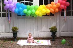 Rainbow Balloon Garland #party #balloons