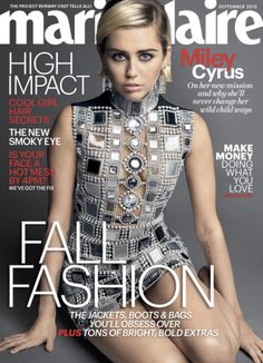Miley Cyrus wearing HOL Vintage on the cover and several inside shots of the Marie Claire September issue