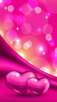 Sparkle Pink Hearts and Bubbles Wallpaper