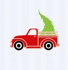 Christmas Truck Antique Truck with Tree SVG Vintage SVG classic truck svg DXF, eps, png Cut File for Silhouette, Cricut Digital Cut Files by JenCraftDesigns on Etsy