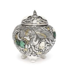 An Enamelled-Silver Koro [Incense Burner] - WITH SEAL MASAAKI, MEIJI-TAISHO PERIOD (LATE 19TH-EARLY 20TH CENTURY)