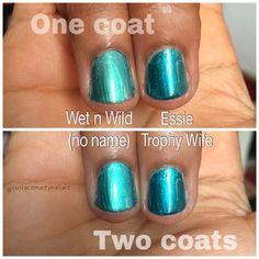 Dupe Test: Wet n Wild unnamed real frost from Color Wave Wild Shine mini set vs Essie Trophy Wife