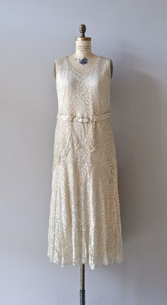 1920s Ivory silk wedding dress