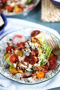 Loaded Iceberg Wedge Salad Recipe - The Suburban Soapbox Iceberg Wedge Salad, Wedge Salad Recipes, Radish Salad, Salad Sandwich, How To Make Salad, Wrap Sandwiches, Side Dishes, Clean Eating, Lunch