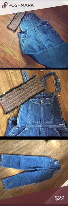 "LA Blues overalls & bandu top bundle Raw pair of LA Blues overalls waiting for you to destroy, paint, shred to make your own. I'm throwing in this cute Urban OF bandu top. The overalls are gently rocked.  Size M. Fits 5'0 to 5'4, size 2-5, depending on how you want them. I'm a size 6/8, 5'5 and these barely fit me. I have hips so    Bae says they are ""nice.""  But, I'm not convinced. Will go fast! Jeans Overalls"