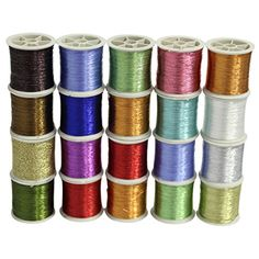 CurtzyTM 20 Piece Metallic Glittery Sewing Thread Spools Polyester Set Pack In Assorted Colours >>> You can find out more details at the link of the image.
