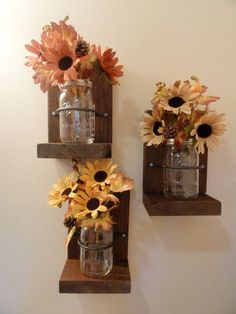 Mason Jars Wall Hanging Decor/Country Decor/Wall Hanging/Sconce Wall Hanging/Housewarming Gift/Home Accents/Wall Decor
