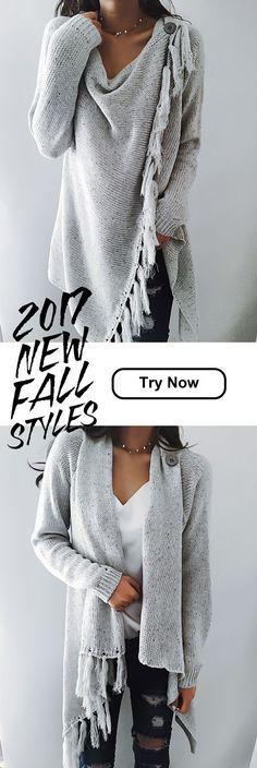 $47.99! Chicnico 2017 Grey Tassel Asymmetrical Hem Shawl Speckled Fringe Cardigan. Get ready for Fall fashion! Find fashionable outfits for the new.