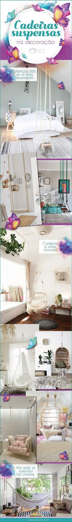 Cadeiras suspensas na decoração - Blog da Mimis #decor #decoração #cadeira #balanço #homedecor #home