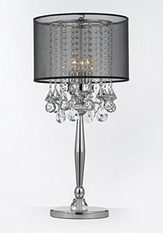 Silver Mist 3 Light Chrome Crystal Table Lamp With Black Shade Contemporary  Modern Desk,Bedside