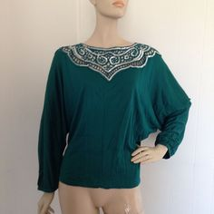 vintage #80s open lace sequin beaded dolman sleeve blouse top m from $9.99