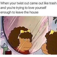 We've all had those days,lol. So you think you'll have a nice twist out.just a afro😒 Natural Hair Memes, Natural Hair Styles, Natural Beauty, Natural Hair Problems, Dankest Memes, Funny Memes, Jokes, Life Memes, Funny Tweets