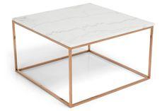 Sohvapöytä Titania Valkoinen marmori/Kupari  - 75x75x45 cm   Kodin1.com