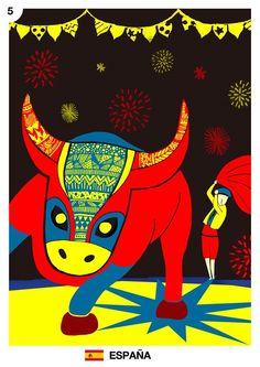 Mes del mundial: España Junio, día 05 Melina Carraro https://www.behance.net/melinacarraro  La corrida de toros es el espectáculo de masas más antiguo de España y uno de los más antiguos del mundo. Esta fiesta no podría existir sin el toro bravo, una especie de toro de una raza antigua que sólo se conserva en España.