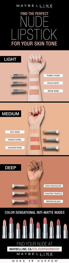 Finding the perfect nude lipstick for your skin tone with Maybelline Beauty Make-up, Beauty Hacks, Hair Beauty, Beauty Tips, Beauty Skin, Make Up Tricks, How To Make, Makeup Guide, Makeup Hacks