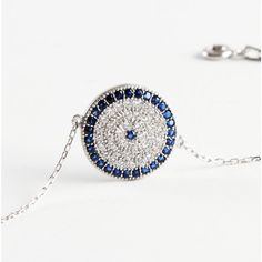 Evil Eye Bracelet  925 Sterling Silver Filled , REAL SAPPHIRE and CZ stones by Evil Eye Gems (Evil Eye Jewelry)