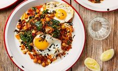 Home cooking should be about substance over style, and not the other way round: Thomasina Miers' sage and 'nduja fried eggs with creamy smashed chickpeas and braised spinach, and leek, jersey royal and crab hash with paprika and parsley.