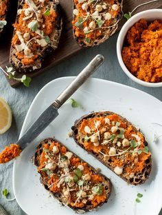 Vegan Egyptian Spiced Carrot Puree On Toast.