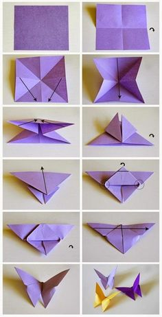17 wanddeko selber machen bastelvorlage schmetterling lila origami schmetterling… 17 make your own wall decoration craft template butterfly purple origami Origami Design, Instruções Origami, Paper Crafts Origami, Paper Crafting, Origami Ideas, Easy Origami Butterfly, Oragami Butterflies, Simple Origami, Origami Gifts