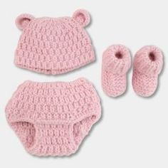 d4698c8d0ee Baby Girls  Polar Bear 3pc Chunky Knit Hat Diaper Cover Bootie Set -