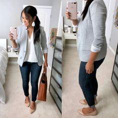 Love this whole outfit, especially the casual grey blazer and cognac accents White top/ blouse+dark skinny jeans+nude pointed flats+grey blazer+brown/ cognac tote bag+white earrings. Fall Workwear/ Casual Date Outfit 2018 Look Blazer, Knit Blazer, Sleevless Blazer, Cropped Blazer, Fall Blazer, Cotton Blazer, Business Outfits, Business Attire, Business Chic