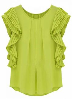 Green Ruffles Sleeve Loose Chiffon Blouse pictures