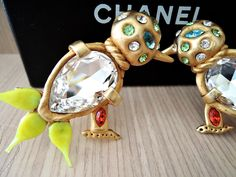 I posted these Chanel 70's JUMBO blown glass jewelled bird earrings to celeb rate our Abraham little bulbul finally found a good bulbul friend ! VINTAGE-FRANCE-DE-COUTURE by sincere_international