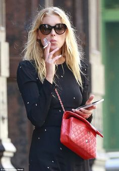 Model behaviour: Elsa Hosk was spotted out in Tribeca, New York on Wednesday enjoying a nicotine fix