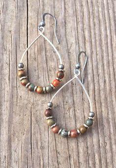 Silver Hoop Earrings, Natural Stone Earrings