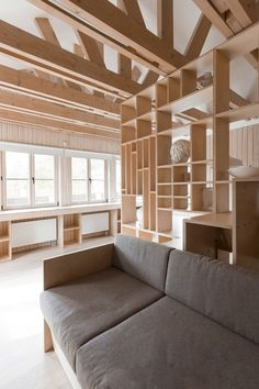 The project includes renovation of former garage premises. The garage was located in an extension to the house. The owner decided to give this space to his daughter, who is keen on drawing and architecture and therefore needs a studio. The main. Living Room Modern, Living Area, Ideas Cabaña, Wooden Workshops, Craft Room Design, Design Desk, Library Design, Interior Minimalista, Mini Clubman
