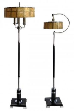Two American Art Deco Floor Lamps with Mica Shades | Modernism