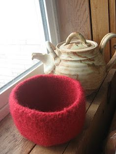 Red Felted Bowl
